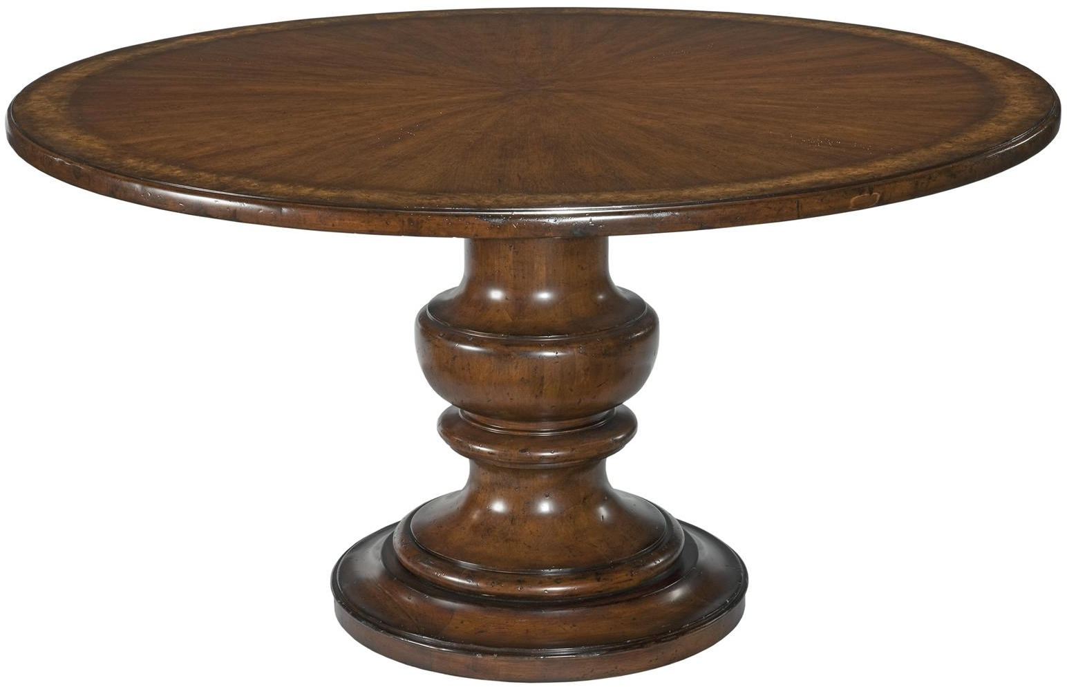 Details About New Dining Table 58 Round Tuscan Style Ringed Pedestal Cherry Veneer