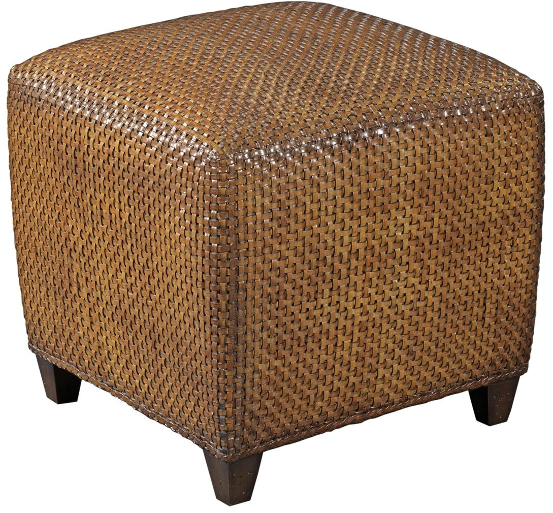 Stupendous Details About Cube Woodbridge Hassek Footstool Ottoman Brown Leather Woven Strips Machost Co Dining Chair Design Ideas Machostcouk