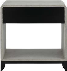 Nightstand CURREY And COMPANY NICOLENE Gray Caviar Black White Lacquer  CC 2907